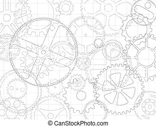 Gears And Cogs Blueprint - Black and white grungy gear...