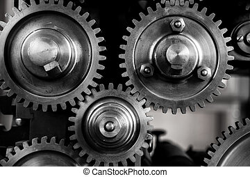 Image of gears and cogs photographed in detail.