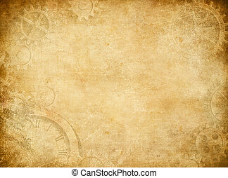 Gears and cogs worn paper background - Gears and cogs worn...