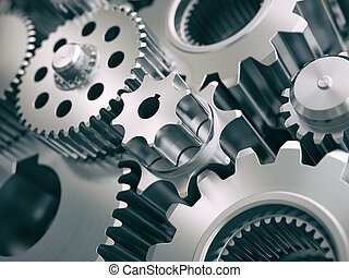 Gears and cogwheels engine industrial background. 3d...