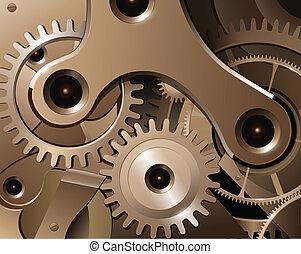 Gears and cogwheels from watch mechanism, vector background.
