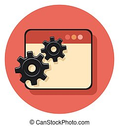 gears and document circle icon with shadow