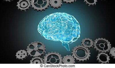Gears and glowing human brain