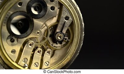 Gears and mainspring in the mechanism of a pocket watch -...