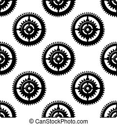 Black and white background seamless pattern of toothed circular motifs or gears in concentric circles in a bold geometric repeat pattern