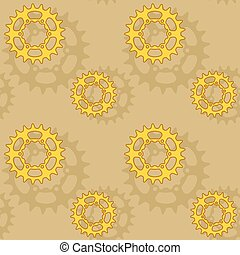 Gears and sprockets seamless pattern