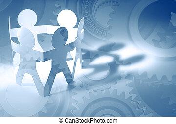 Teamwork  - Gears and team. Teamwork concept