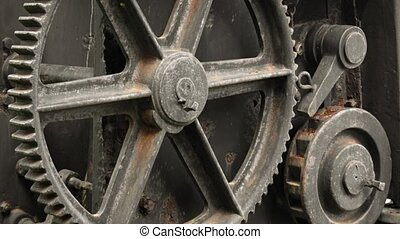 Gears and Wheels of a Steam Crane in Sri Lanka. 1080p DCI footage