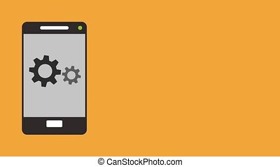 Gears appears on smartphone screen HD animation