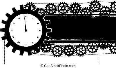 gears banner with clock