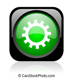 gears black and green square web glossy icon