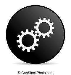 gears black circle web glossy icon