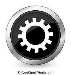 gears black icon options sign