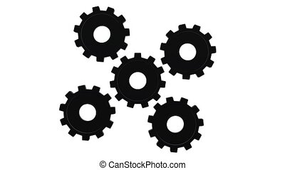Gears black spinning on white background close up. Alpha channel