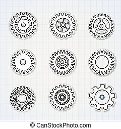 Gears Black White Icons Set