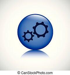 gears blue button business symbol teamwork