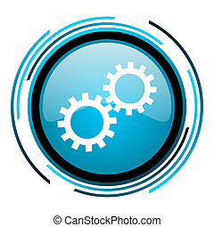 gears blue circle glossy icon