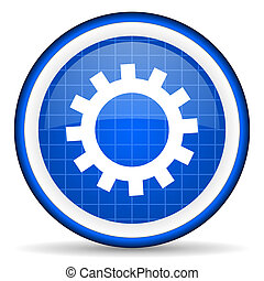 gears blue glossy icon on white background