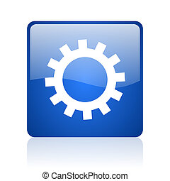 gears blue square glossy web icon on white background