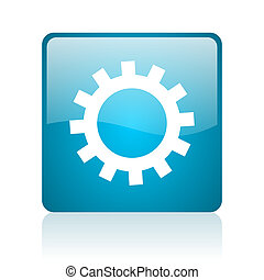 gears blue square web glossy icon