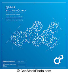 Gears blueprint background. Vector. - Gears blueprint vector...