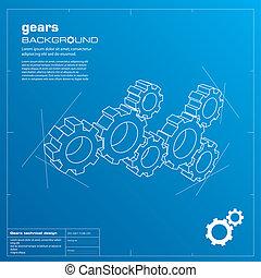 Gears blueprint background. Vector. - Gears blueprint vector...