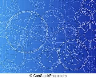 Gears Blueprint - Grungy technical gears illustration on...