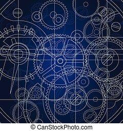Gears blueprint vector