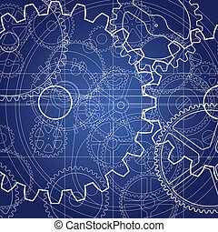 Gears blueprint vector