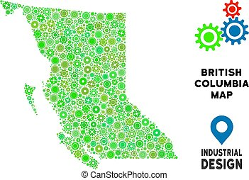 Gears British Columbia Province Map Composition