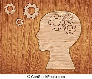gears., cerveau, tête, fait, activity.