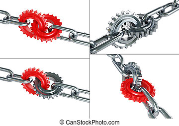 gears chain links set on a white background 3D illustration
