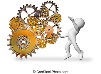 gears cogs and character worker turning tunning the cog weels - 3d rendering