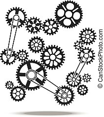 Gears, cogs and wheels vector engine transmission machine design background element