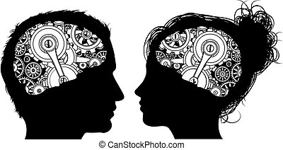 Gears Cogs Brain Concept - A man and a woman in silhouette...