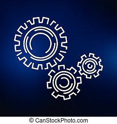 Gears cogs icon on blue background