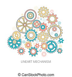 Gears collected in the mechanism - a composition in the...