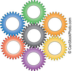 Colorful interlocking gears