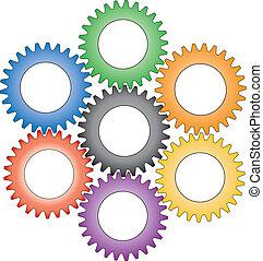 Gears - Colorful interlocking gears