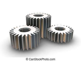 Gears concept - 3D render of interlocking gears