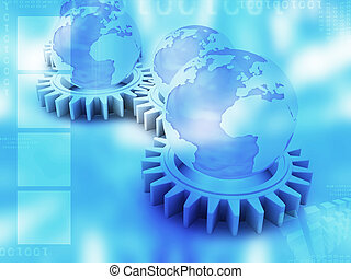 Conceptual image of gears, globes and binary code