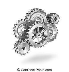 Gears concept icon, 3D illustration on white