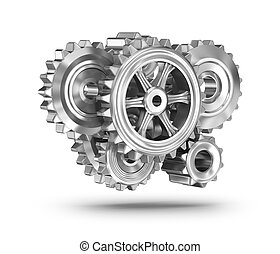 Gears concept over white surface