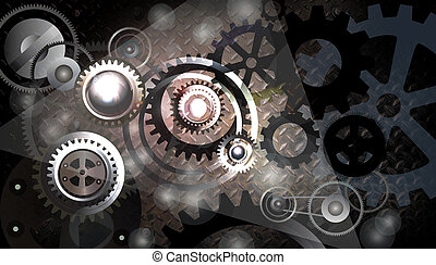 gears concept. - Technology background with metal gears and...