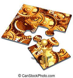 Gears Concept Puzzle - 3D Concept And Presentation Figure