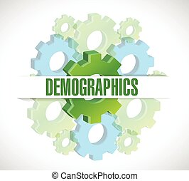 gears demographics sign illustration design over a white...