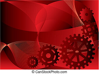 gears - Vector illustration - gears on a red abstract...