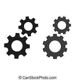 Gears flat icons on white background.