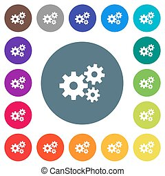 Gears flat white icons on round color backgrounds