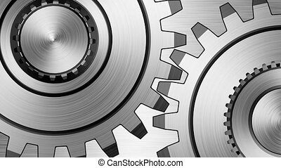 Gears - Two gears on steel background